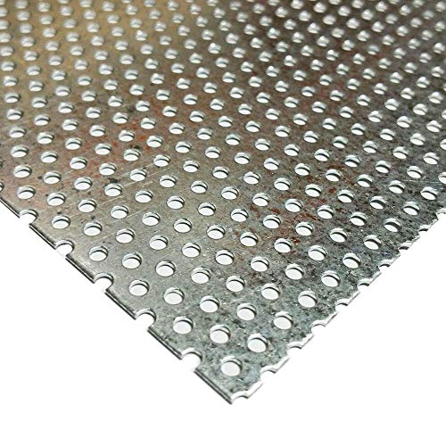 """Online Metal Supply Galvanized Steel Perforated Sheet 0.034"""" x 24"""" x 24"""", 3/32"""" Holes"""