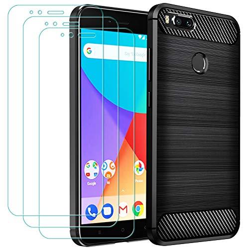 ivoler Funda para Xiaomi Mi A1 + 3 Unidades Cristal Templado, Fibra de Carbono Negro TPU Suave de Silicona [Carcasa + Vidrio Templado] Ultra Fina Caso y Protector de Pantalla