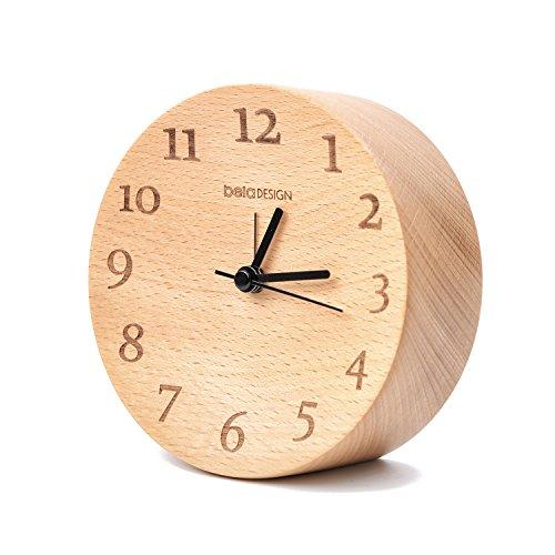 belaDESIGN 円筒の置き時計 原木 FSC認証 iFデザイン受賞 ハンドメイド 穏やかで落ち着く ビーチ材 色(薄コーヒー)