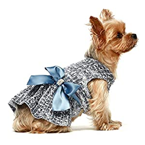 Fitwarm Embroidery Dog Dresses Pet Clothes Puppy Prom Dress Cat Birthday Party Gown Blue Medium