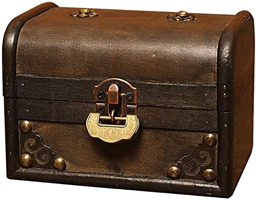 OH Caja de Maletas Tesoro de Madera Tesoro Pequeño Recuerdo Joya Joyería Caja de Boda Cajas Decorativas Caja de Viaje Organizador Mostrar Caja de Alenamiento Seguro y fuerte/Marrón /