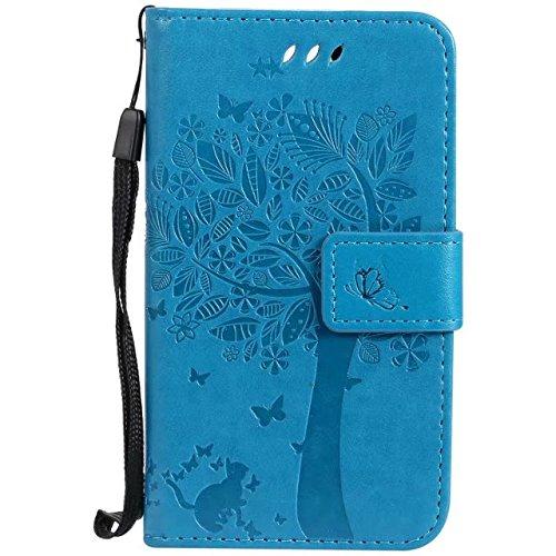 Sunrive Hülle Für LG K3 2017, Magnetisch Schaltfläche Ledertasche Schutzhülle Hülle Handyhülle Schalen Handy Tasche Lederhülle(HPrägung Baum blau)+Gratis Universal Eingabestift