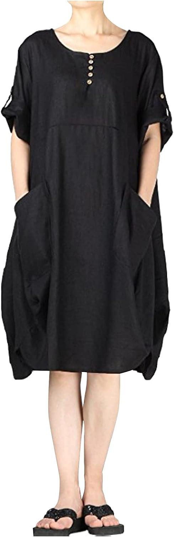 Eoailr sale Women's Oversized Tunic T-Shirt Linen P Dress Very popular