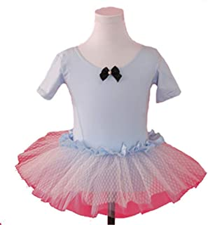 Beautiful Dance Skirt Kids Cotton Ballet Tutu Short Sleeve Crotch Button Jumpsuit Fashion (Color : Blue, Size : 130)