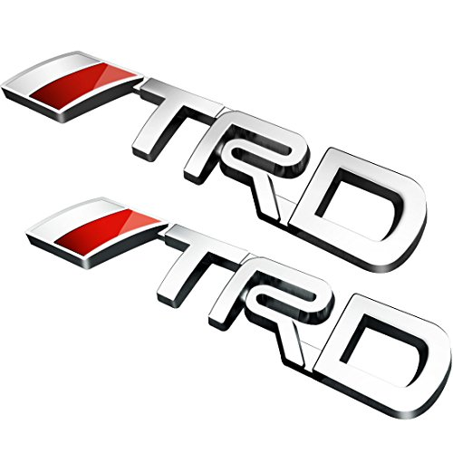 Deselen - LP-BS09A - Car Emblem Chrome Stickers Decals Badge Labeling for TRD Fj Cruiser, Supercharger, Tundra, Tacoma, 4runner,Yaris,Camry, Pack of 2 (Silver)