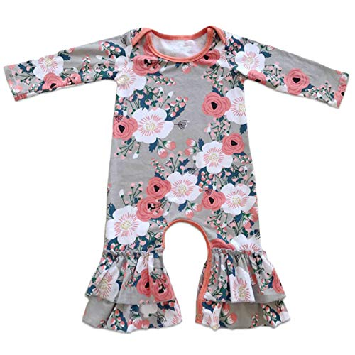 Toddler Little Girls Baby Christmas Romper Icing Ruffle Bottoms Long Sleeve Jumpsuit Playwear Pants Floral Printed Pajamas Nightwear Homewear Summer Fall Birthday Outfits Party Clothes Gray 6-12M
