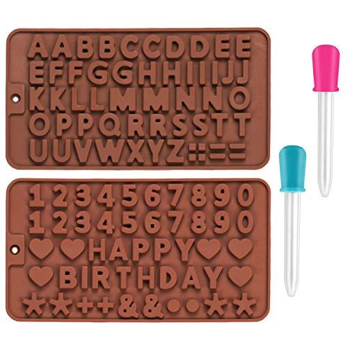 2 Pezzi Stampi in Silicone per Caramelle e Cioccolato, Scettar Stampo in Silicone a Forma di Numero Alfabeto Cuore per Fare Cioccolato, Torta, cubetti di ghiaccio, Mousse a Cupola, Burro di Arachidi