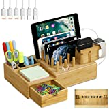 Bamboo Charging Station for Multiple Devices - Darfoo Wood Charging Dock Organizer, 7 USB Charging Ports Compatible with iPhone, AirPod Pro, iWatch and Tablet