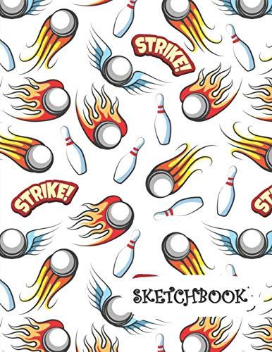 Sketchbook: Fireball Bowling Balls Fun Framed Drawing Paper Notebook