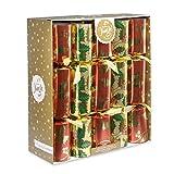 Lot de 10 Crackers de Noël avec Motif Houx, Rouge, doré, Vert, 36 cm