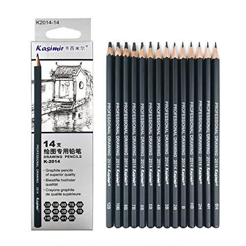 Drawing Pencils, Artist Pencil, 14pcs / Set 12B 10B 8B 7B 6B 5B 4B 3B 2B HB B 6H 4H 2H 3B 4B 5B 1B Graphite Sketching School Art Writing Supply Professional Sketch lapis Set
