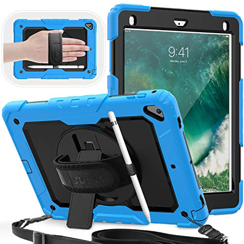 SEYMAC Case for iPad Air 2 & iPad 5th/6th Generation & iPad Pro 9.7, Shockproof Rugged Case with 360 Swivel Stand Hand Strap/Pen Holder/Screen Protector/Shoulder Strap for iPad 9.7 Inch, Light Blue