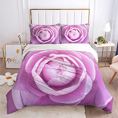 Juego de Cama - Juego de Funda Edredón 135x200cm Púrpura Planta Flor patrón con 2 Fundas de Almohada 50x75cm de Microfibra y Suave Juego de Cama para niños y niñas