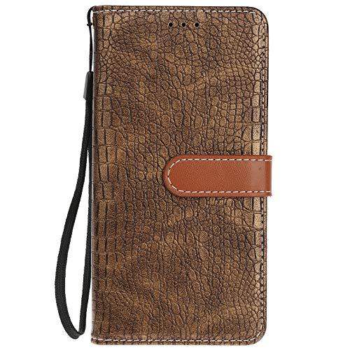 ocketcase® BQ Aquaris U Plus Hülle, PU Leder Flip Case Wallet Stylish mit Standfunktion Schutzhülle (Krokodilkorn 4)