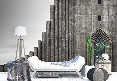 Vlies Fototapete Fotomural - Wandbild - Tapete - Steinwand Tubes Dom Fenster - Thema Architektur - MUSTER - 104cm x 70.5cm (BxH) - 1 Teilig - Gedrückt auf 130gsm Vlies - 1X-887473VEM