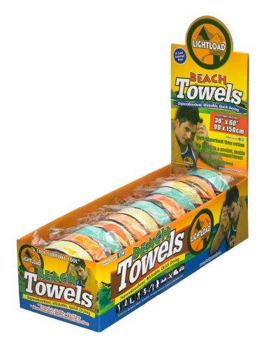 Lightload Towels Beach Swim Towels Quick Dry Large Compressed Reusable Non Microfiber Super Absorbent Breathable Travel Camp Backpack Gym 12 Pack Gift Box 36x60 Inches 5oz