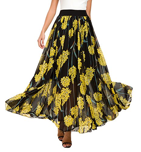 Urban CoCo Women's Fashion Chiffon High-Waist Summer Long Maxi Skirt