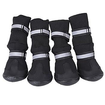 Zerodis 4 pièces Bottes de Chien Noir Chaussures de Protection antidérapantes pour Chien de Compagnie Bottes de Protection Chaudes et imperméables pour Chiens Moyens et Grands(Blue XL)