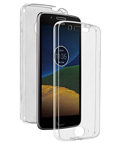 COPHONE® Schutzhülle 360 Grad transparent aus Gel kompatibel mit Moto G5 Plus Integraler & unsichtbarer Schutz. Top Qualität