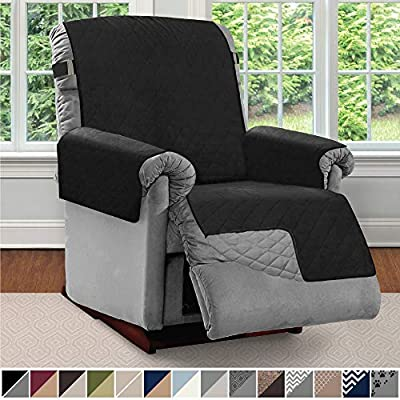Sofa Shield Original Patent Pending Reversible Recliner Protector, Machine Washable Furniture Slipcover, 2 Inch Strap, Reclining Chair Slip Cover Throw for Pets, Dogs, Kids, Cats, Recliner