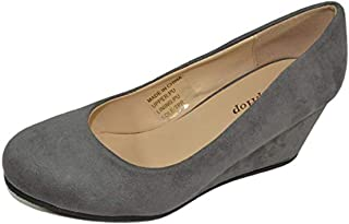 HapHop Women's Classic Almond Toe Mid Heel Wedge Pump Slip On Shoes