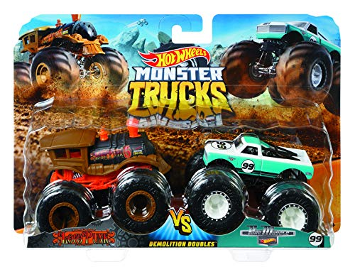 Mattel - Hot Wheels Monster Truck Duos FYJ64 de Demolición, modelos aleatorios,...
