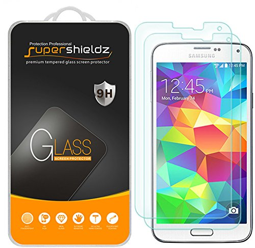 Supershieldz (2 Pack) for Samsung Galaxy S5 Tempered Glass Screen Protector Anti Scratch, Bubble Free