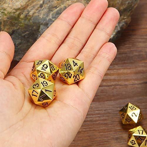 EQVUDJT 5 Piezas Oro/Bronce Metal Divertido Dados Estándar 20 Sided Decider Board Juego para Juego de Mesa (Color : Gold Color)