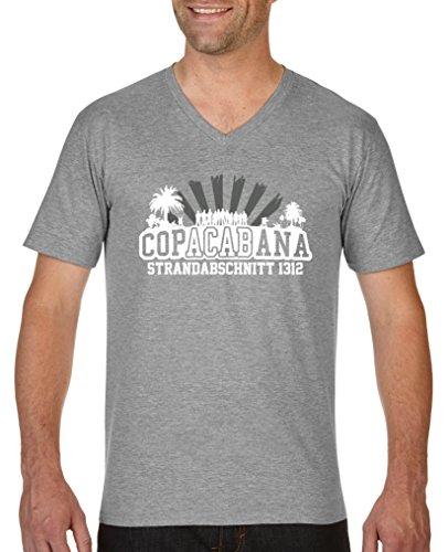 Comedy Shirts - Copacabana Strandabschnitt 1312 - Herren V-Neck T-Shirt - Graumeliert/Weiss-Grau Gr. S