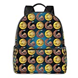 Gold Mustache Moustache Handlebar Moon Space Galaxy Fashion School Backpack Unisex Classic Lightweight Backpack Printing Cute For Boys Girls High School College Schoolbag Sloth