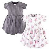 Hudson Baby Girl's Cotton Dresses, Pink Gray Floral, 6-9 Months