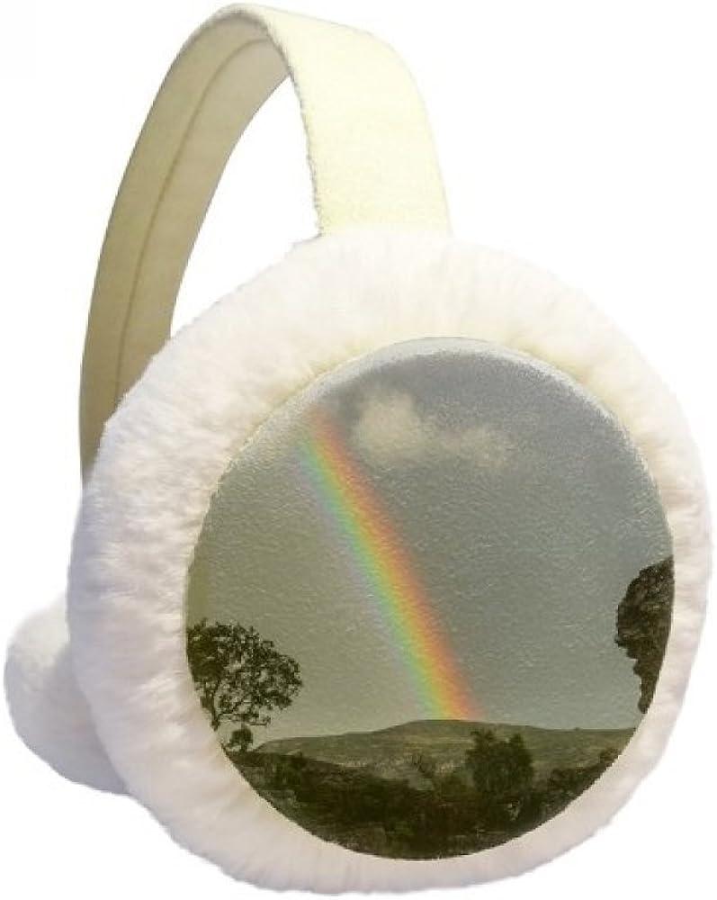 Rainbow Forestry Science Nature Scenery Winter Ear Warmer Cable Knit Furry Fleece Earmuff Outdoor