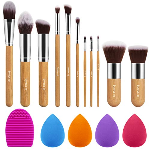 Syntus Bamboo Makeup Brush Set 11 Makeup Brushes amp 4 Blender Sponges amp 1 Brush Cleaner Premium Synthetic Foundation Powder Kabuki Blush Concealer Eye Shadow Makeup Brush Kit