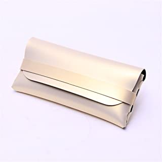 Glasses Case,Soft Leather Slim Tilt Flat-Folding Protective Travel Portable Storage Box Pouch Handmade Vintage Retro Gift