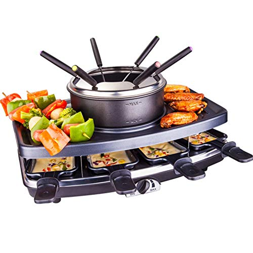 XIONGGG Fondue, Table Grill, Party Grill, 1100 W, 8 Pans, Non-Stick Coating, 1 X Fondue Pot, 6 Fondue Forks, Low-Fat Grilling, Black