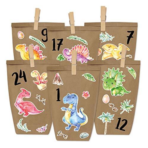 Papierdrachen DIY Adventskalender zum Befüllen - Dinosaurier zum Aufkleben - mit 24 braunen Papiertüten und tollen Stickern für Kinder - Weihnachten
