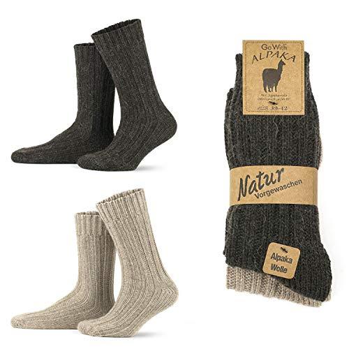 Go With Collection 2 pares de calcetines de alpaca para hombre y mujer, calcetines gruesos de invierno, cálidos y esponjosos, calcetines de lana Beige y marrón 39-42