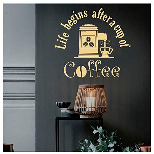huayao Wandtattoo Leben Beginnt Nach Tasse Kaffee Zitat Bohnen Entspannen Zeit Restaurant Cafe Trinken Kaffeehaus Interieur Vinyl Aufkleber 57X61Cm