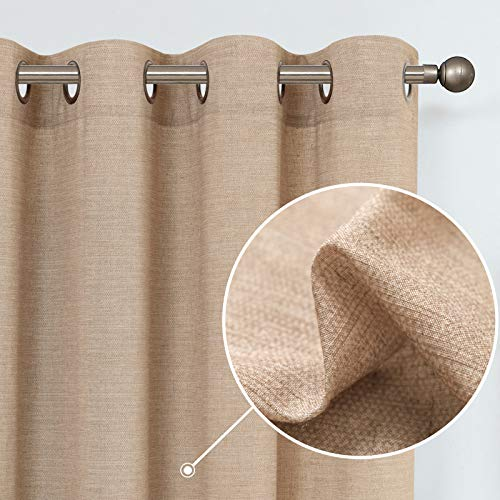 jinchan Linen Textured Curtains for Living Room Grommet Top Window Treatment Set for Bedroom 2 Panels 84 inches Long Taupe