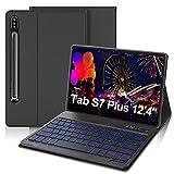 IVEOPPE Funda con Teclado para Samsung Galaxy Tab S7 Plus 12.4'', Teclado Bluetooth 7 Colores Retroiluminada Español Ñ con Cubierta Tipo Folio de PU para SM-T970 / T975 / T976 (Gris)