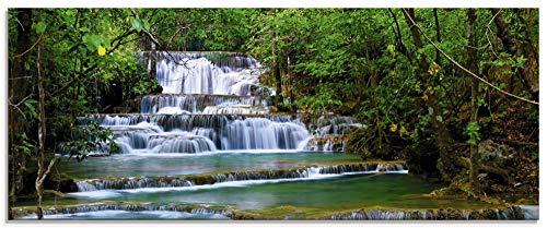 Artland Glasbilder Wandbild Glas Bild einteilig 125x50 cm Querformat Natur Landschaft Wasserfall Wald Thailand Dschungel Fluss Sommer T5NK