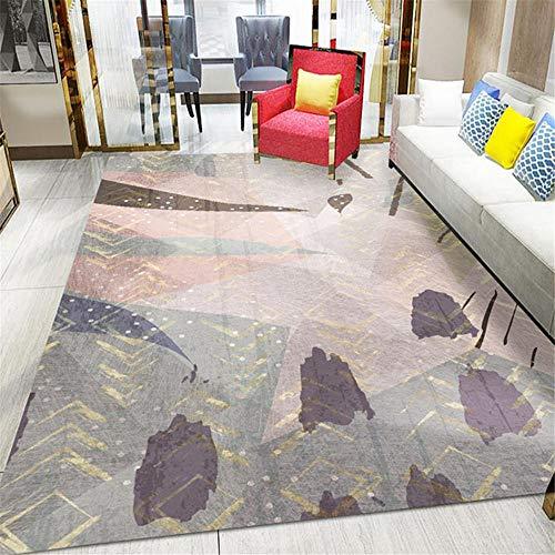 AU-SHTANG alfombras habitacion Alfombra con diseño de patrón de Lavado y Tinta Gris, Alfombra cómoda antiestática Que no se decolora y fácil de Mantener Alfombra habitaci -Gris_El 140x200cm