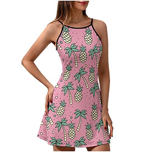 Broche de palmera, vestido de playa para mujer, verano, con flores, vestido de tirantes, vestido para mujer, verano, elegante, fino, Blanco, M