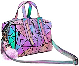 Geometric Handbag Luminous Women Tote Bag Holographich Purses and Handbags Flash Reflactive Crossbody Bag for Women (Boston Handbag)