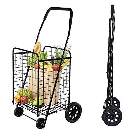 Einkaufstrolley, Einkaufsroller Klappbar Schieben Anti-Rost Große Kapazität, Stabiles Gehen Mit Zwei Drehbaren Rädern Zum Einkaufen Von Lebensmitteln