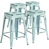 Flash Furniture Commercial Grade 4 Pack 24' High Backless Distressed Green-Blue Metal Indoor-Outdoor Counter Height Stool