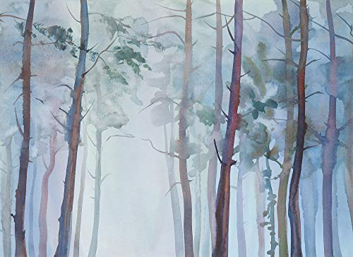Livingwalls Fototapete Designwalls Vliestapete Aquarelle Fores Tapete Wald in Blau, Grün 350 x 255 cm XXL Wandtapete Wandbild 118801