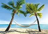 ARTBAY Playa de sueños, póster XXL - 118,8 x 84 cm, sensación de Vacaciones para el hogar y la Oficina, Hamaca Debajo de Dos Palmeras en la Playa romántica del Caribe, Playa de sueños, Hamaca y mar