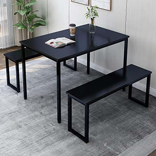 Rhomtree 3 Pieces Dining Set Table with 2 Benches Kitchen Dining Room Furniture Modern Style Wood Table Top with Metal Frame (Balck + Black)