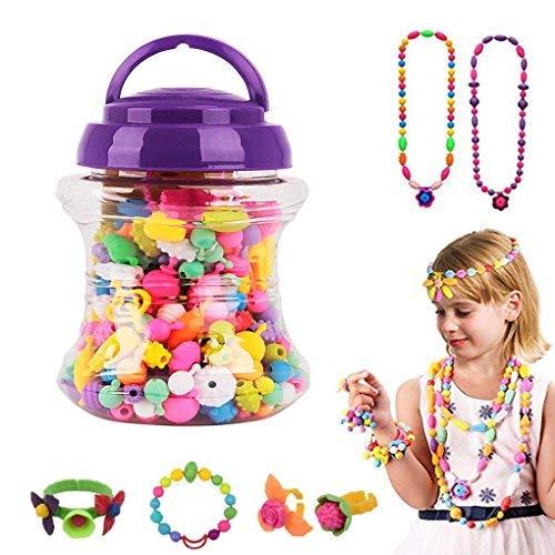 Juego de 220 cuentas de plástico para niños con cierre de presión, collares, pulseras, anillos, manualidades, juguetes, regalos de Navidad y cumpleaños para niñas mayores de 3 años